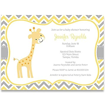 Amazing Giraffe Baby Shower Invitations, Chevron Stripes, Gender Neutral, Sprinkle,  Yellow, Grey