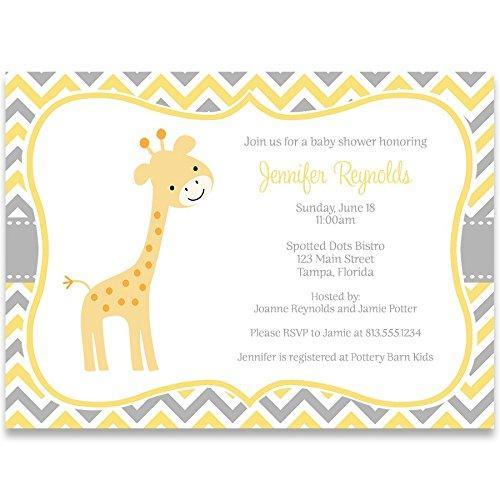 Giraffe Baby Shower Invitations, Chevron Stripes, Gender Neutral, Sprinkle, Yellow, Grey, Gray, Safari, Jungle, Personalized, Customized, 10 Printed Invites with Envelopes, Chevron Giraffe