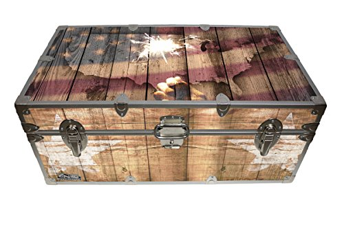 C&N Footlockers Designer Trunk - Fourth of July Americana Storage Trunk - 32x18x13.5 Inches