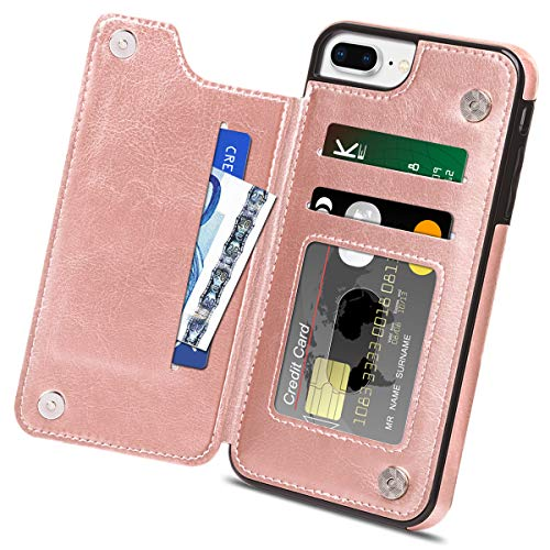 HianDier Wallet Case for iPhone 8 Plus 7 Plus, Slim Protective Case with Credit Card Slot Holder Flip Folio Soft PU Leather Magnetic Closure Cover Case Compatible with iPhone 7/8 Plus 5.5, Rose Gold