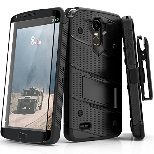 Zizo Bolt Series Compatible with LG Stylo 3 Case Military Grade Drop Tested with Tempered Glass Screen Protector, Holster, Kickstand Black