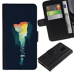 SAMSUNG Galaxy S5 V / i9600 / SM-G900 , la tarjeta de Crédito Slots PU Funda de cuero Monedero caso cubierta de piel ( Big City Nature Contrast Buildings Trees)