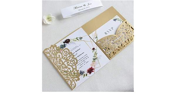 Dodom Elegante invitación Boda Oro Plata Floral Corte por láser ...