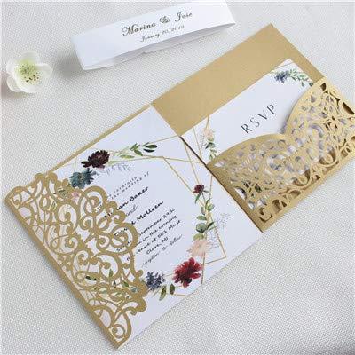 Dodom Elegante Invitación Boda Oro Plata Floral Corte Por