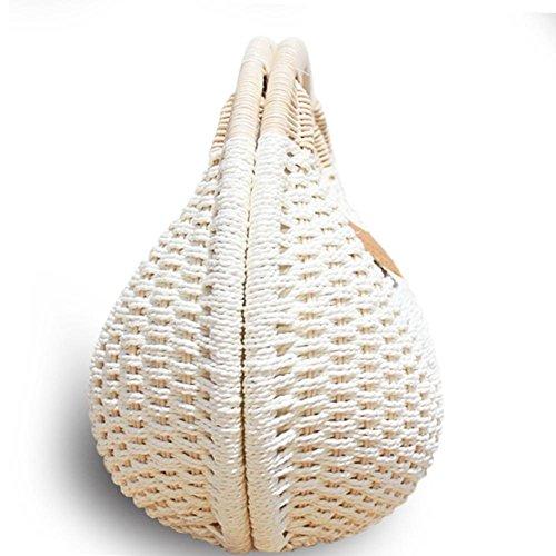 mujer bolsa viaje bolsa bolsa bolsa Mujer para playa de concha ratán tejida paja de regalo niña de de fancylande pajita playa ideal vacaciones redondo 48wTTBq