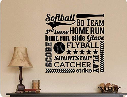 Home Run Collage - Profit Decal Decorations Softball Collage Go Team Home Run Bunt Slide Girls Fun Baseball Bat Ball for Girls Women Men Boys Wall Decals Decor Vinyl Sticker Q4889