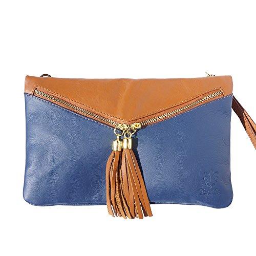 PEQUEÑO cuero CLUTCH suave y WRISTELT 6127 Azul marino-bronceado