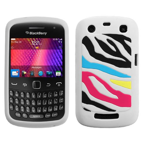 Rainbow Zebra/White Pastel Skin Cover for RIM BLACKBERRY 9350 (Curve), RIM BLACKBERRY 9360 (Curve Rainbow Zebra Cover)