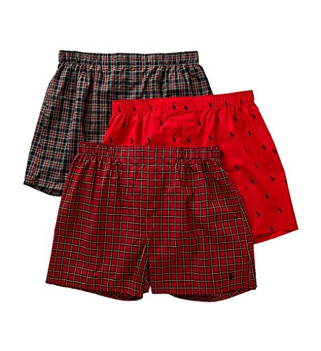 Boxers Mens Ralph Lauren (Polo Ralph Lauren Classic Woven Boxers 3-Pack, XL, Red Norway Plaid)
