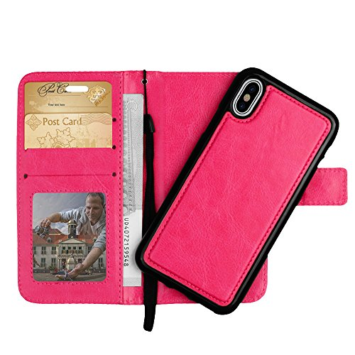 iPhone X Leather Wallet Case, 2-Piece Detachable Folio, Removable Protective Cover, Magnetic Flip Closure, 3-4 Card Slots and ID Window, 2 in 1 Design (Pink)