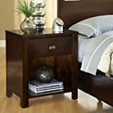 Modus Furniture RV2681 Riva 1-Drawer Nightstand, Chocolate Brown