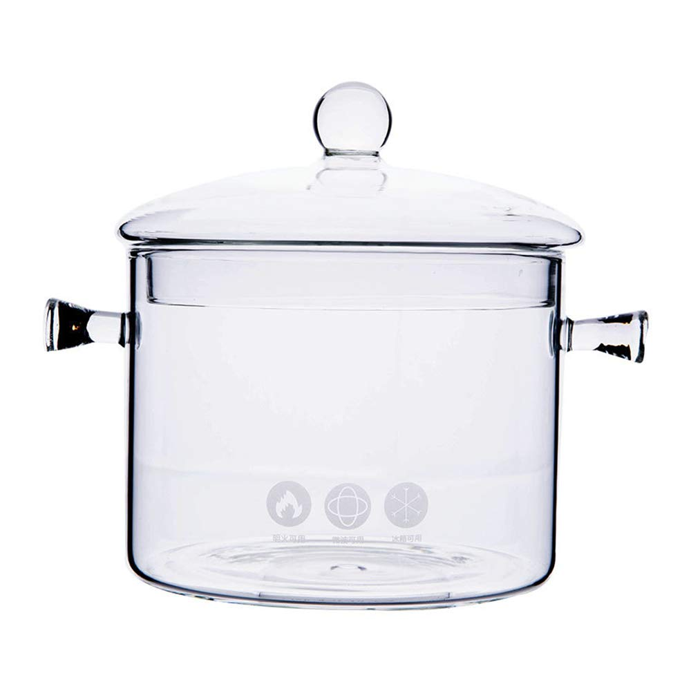 1.5L High Borosilicate Heat-resistantGlass Clear Pasta Instant Noodle Pot Pan Stew Cooker Baby Food Milk Sauce Hot Pot with Lid Mini Size Cookware by KINO