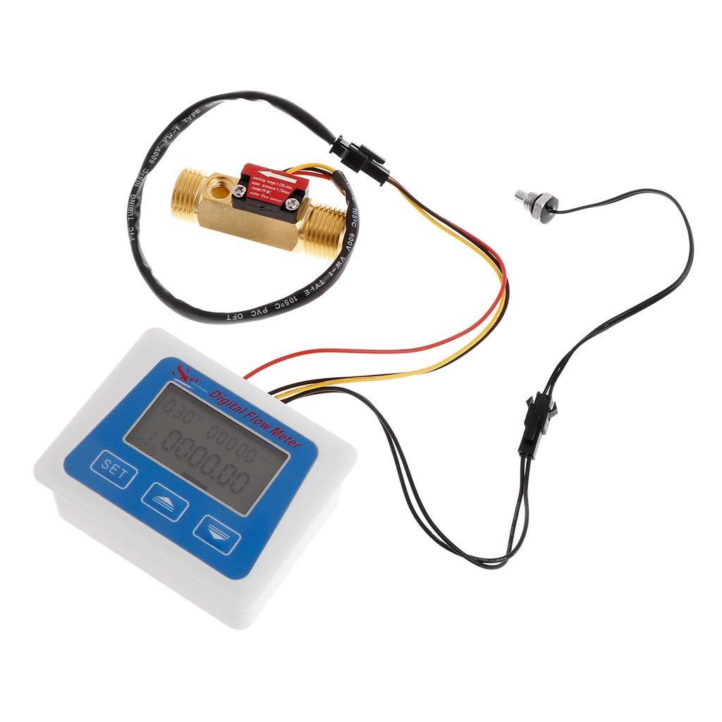 Duyummy Digitaler Durchflussmesser Temperaturmesser F/ür Den Wasserdurchflussmesser Mit G1 2-Durchflusssensor