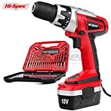 Hi-Spec 18 V Pro Combo Cordless Drill Driver with 1000 mAh Ni-MH Battery, 17 Position Keyless Clutch, Variable Speed Switch & 30 Piece Drill and Screwdriver Bit Accessory Set in...