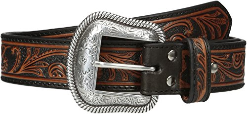 (Nocona Men's Black & Brown Scroll Belt, Brown,)