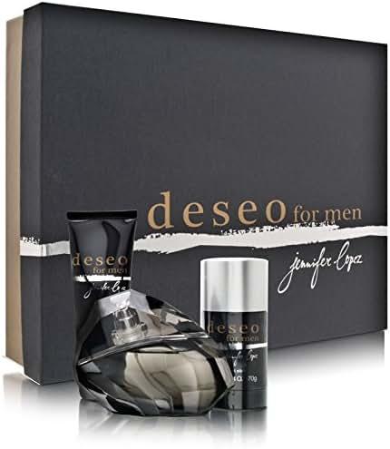 Deseo for Men by Jennifer Lopez 3 Piece Set Includes: 3.4 oz Eau de Toilette Spray + 2.5 oz After Shave Balm + 2.4 oz Deodorant Stick
