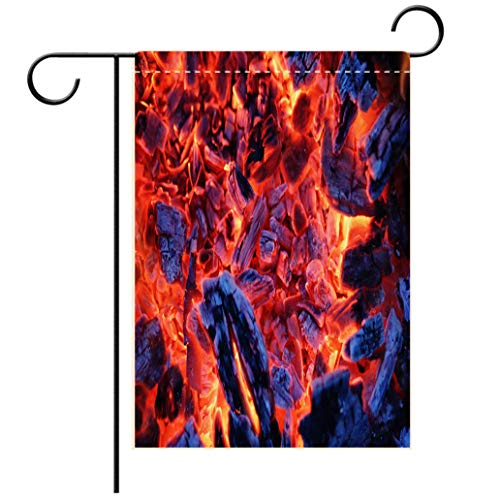 BEISISS Double Print Garden Flag Outdoor Flag House FlagBannerSmoldering Ashes of a Bonfire Decorated for Outdoor Holiday Gardens ()