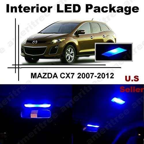 ameritree Mazda CX-7 2007 - 2012 (6 piezas) azul LED luces interior kit de paquete y azul LED de la matrícula: Amazon.es: Iluminación