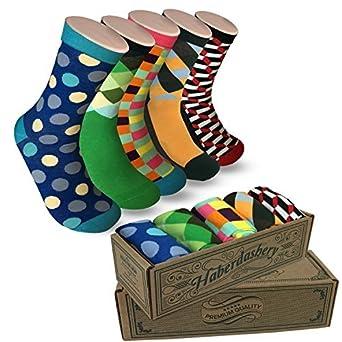 Modern Motif Men's Power Socks, 5 Pairs Per Sock Gift Box, Funky Men's Crew Socks, Colorful Patterned Socks for Men, Ideal Coworker, Dad, Boss, ...