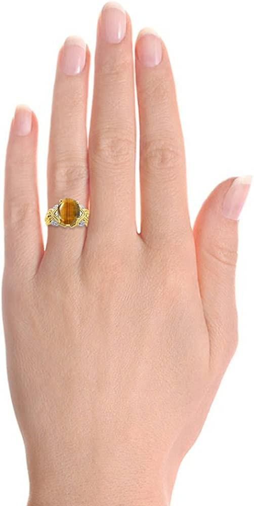 Diamond /& Tiger Eye Ring Set In Yellow Gold Plated Silver 12 X 10MM Color Stone Birthstone Ring