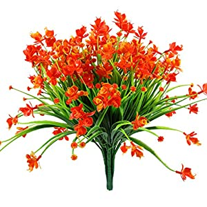 Gejoy 6 Pieces Artificial Daffodils Flowers Plastic Fake Plant Indoor Outside Hanging Floral Planter for House Garden Wedding Decor, Red Orange 31