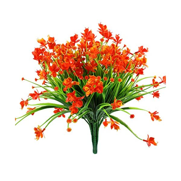 Gejoy 6 Pieces Artificial Daffodils Flowers Plastic Fake Plant Indoor Outside Hanging Floral Planter for House Garden Wedding Decor, Red Orange