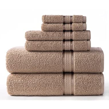 Cotton Craft Ultra Soft 6 Piece Towel Set Linen, Luxurious 100% Ringspun Cotton, Heavy Weight & Absorbent, Rayon Trim - 2 Oversized Large Bath Towels 30x54, 2 Hand Towels 16x28, 2 Wash Cloths 12x12