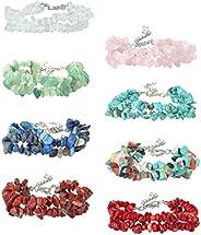 LOYALLOOK 8-12Pcs Natural Gemstone Chakra Crystal Healing Chip Gemstone Stretch Bracelets Tumble Polished Alig