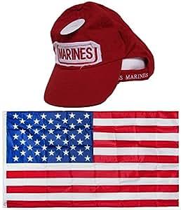 USMC Marines infantería de marina rojo parche envejecido lavar gorro de bordado Gorra & bandera de Estados Unidos 3x 5Super poliéster nylon 3'x5' casa Banner ojales doble cosido Premium calidad