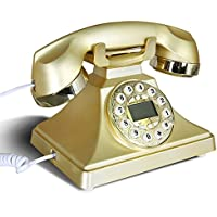 Edge To Corded Telephones Retro Phone, European Fashion Telephone With Button Dial Classic Antique Telephones Landline (Color : Gold)