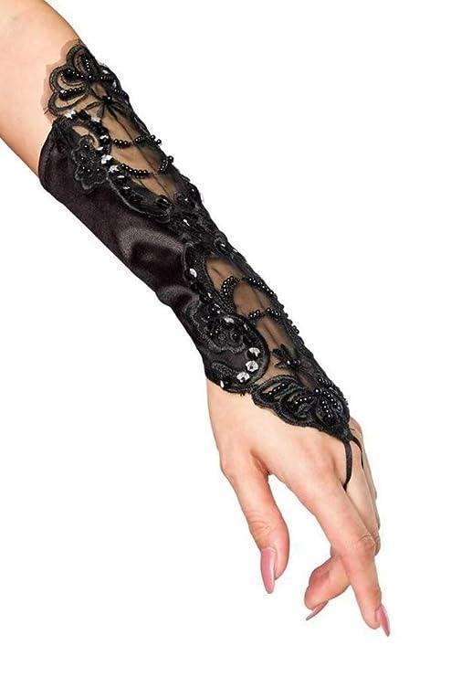 4a6253799898ff Handstulpen mit Stickerei und Perlen schwarz Hochzeit Braut Handschuhe  Fingerlos: Amazon.de: Bekleidung
