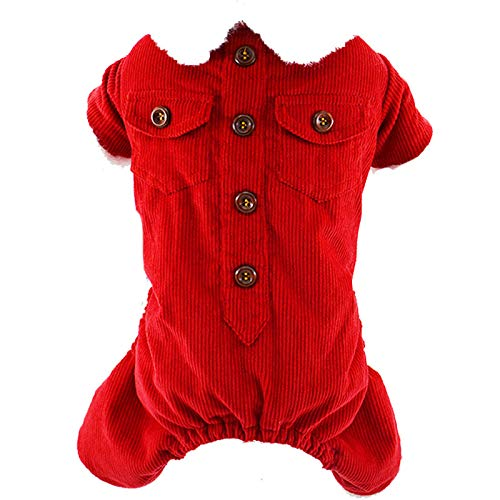 HUAIX petsuppliesmisc Vestiti per Cani e Cuccioli Vestiti Autunnali e Invernali Teddy Bears Pet Vestiti a Quattro Zampe Spessa Giacca di Velluto a Coste di Velluto a Coste (Colore   Red, Dimensione   S)