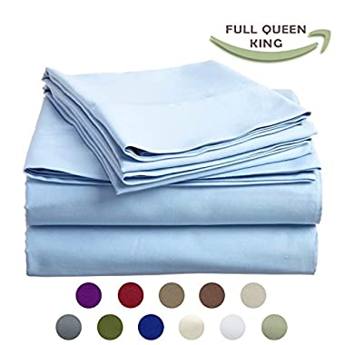 High Strength Natural Bamboo Fiber Yarns Egyptian Comfort 1800 Thread Count 4 Piece QUEEN Size Sheet Set, SKY Color