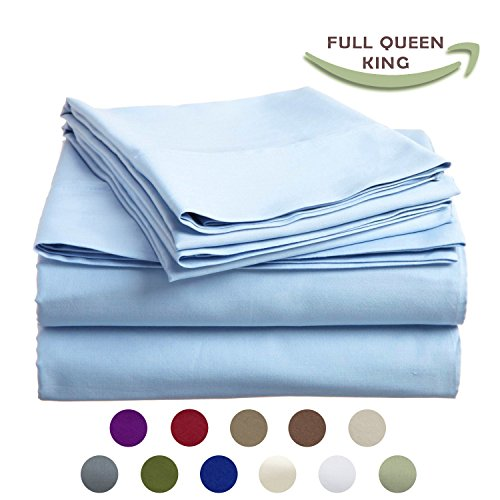 High Strength Natural Bamboo Fiber Yarns Egyptian Comfort 1800 Thread Count 4 Piece Full Size Sheet Set, SKY Color