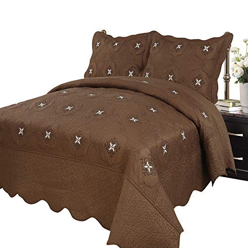 MarCielo 3-Piece Fully Quilted Embroidery Quilts Bedspreads Bed Coverlets Cover Set, Coffee Emma(Queen Size, Coffee)