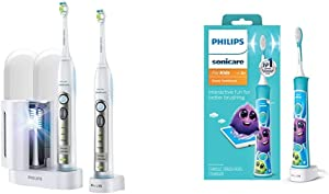 Philips Sonicare FlexCare Whitening Edition Rechargeable Toothbrush 2 Count Bundle & HX6321/02 Sonicare for Kids Rechargeable Electric Toothbrush, Blue