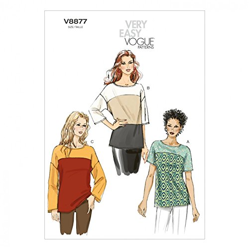 - Vogue Ladies Easy Sewing Pattern 8877 Colour Block Tops