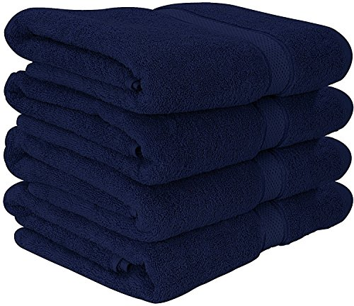 600 GSM Premium Bath Towels Set - Cotton Towels for Hotel and Spa, Maximum Softness and Absorbency by Utopia Towels (4 Pack) (Navy Blue) Towel Sets Bath Towels