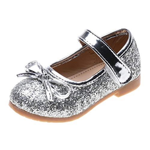 Tantisy ♣↭♣ Baby Girls Dress Shoes Mary Jane Round-Toe Bowknot Glitter Ballerina Flat Shoes Chic Little Princess Sandals Silver