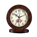 HAOFAY clock - Retro Vintage Mantel/European Modern Wood Creative Silent Quartz Clock Desk and Shelf Clock