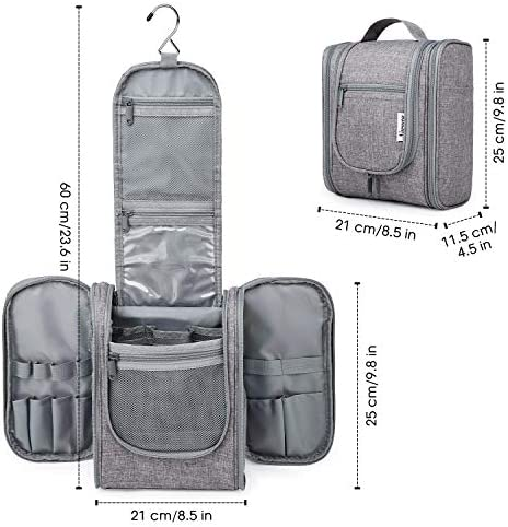 Hanging Travel Toiletry Bag Kit Cosmetic Makeup Organizer for Women and Men (Grey)