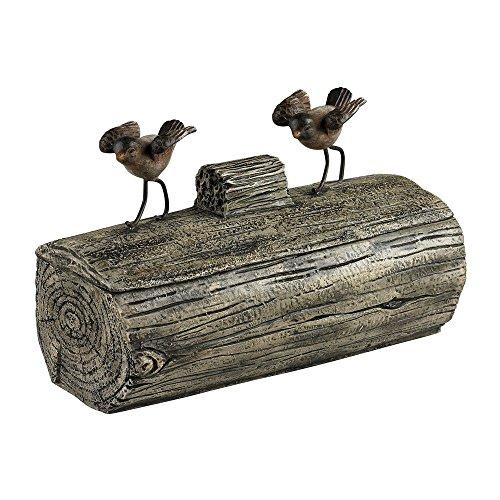 Sterling 93-19311 Altura Composite Natural Tones Little Birds on a Log Box, Cedar Pond (Log Cedar Accents)