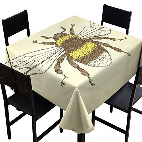 crabee Outdoor Tablecloth Sketch Bumble bee in Vintage style2,W54 x L54 for Wedding Reception Nave Blue ()