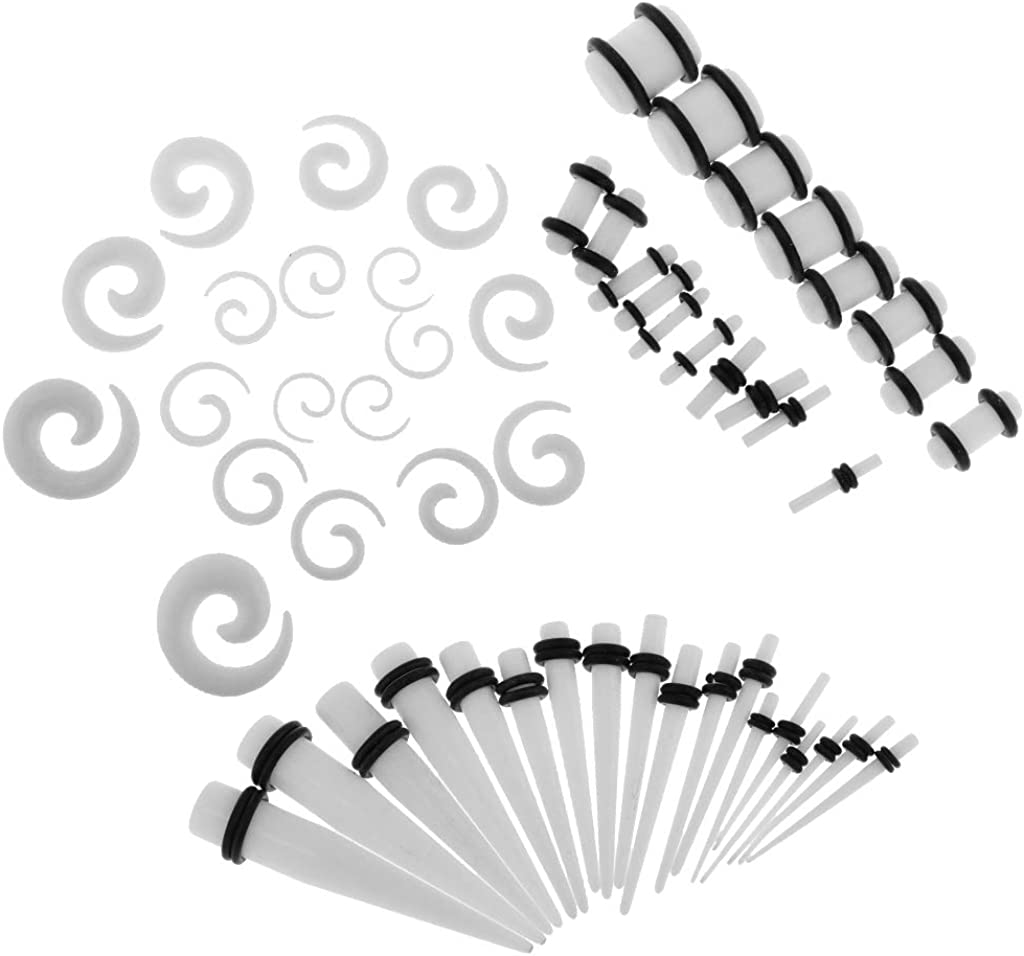 Baoblaze 54pcs Spiral and Straight Taper Stretching Gauges Kit with Acrylic Plug Kit
