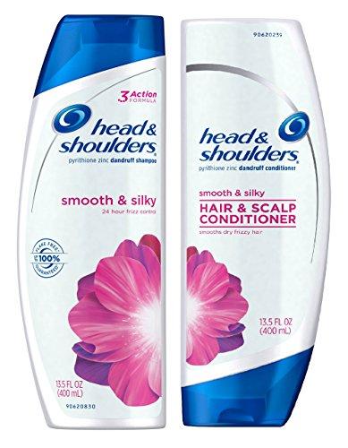 Silky Smooth Shampoo - Head & Shoulders Smooth and Silky 24 Hour Frizz Control Dandruff Shampoo 13.5 fl oz & Conditioner 13.5 fl oz - 1 Bottle Each