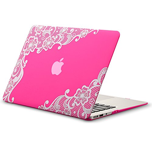 MacBook Air 13 inch Case A1466 A1369, Kuzy Rubberized Hard Cover (Older Version 2017, 2016) - LACE NEON PINK