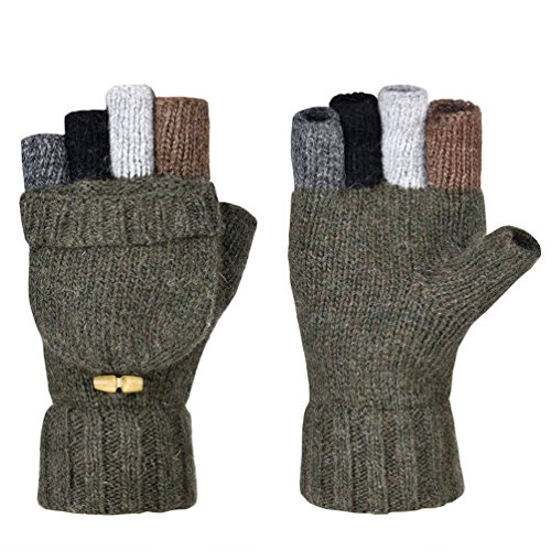 Vbiger Winter Warm Wool Mittens Gloves (Army Green) - Wool Military Glove