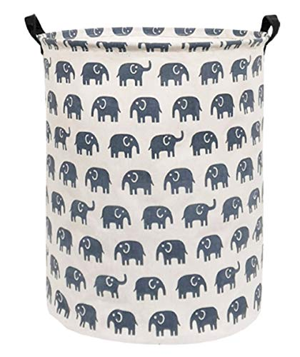 (Sanjiaofen Large Storage Bins,Canvas Fabric Laundry Basket Collapsible Storage Baskets for Home,Office,Toy Organizer,Home Decor (Blue Elephant) )
