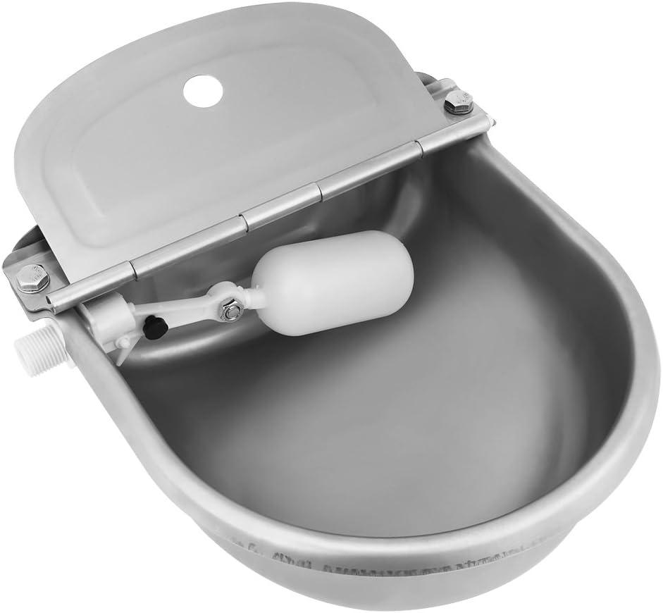 Bebedero para Caballos,4L Bebedero Automático Bebedero Cuenco de Agua Tazón de Acero Inoxidable para Caballos, Cabras, Ovejas, Ganado (Valvula Plastica, Plateado)