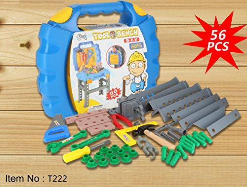 ActFun Tegole T222 Toy Tool Set Workbench Kids Workshop Toolbench with 56 Pcs Pretend Play Construction Accessories